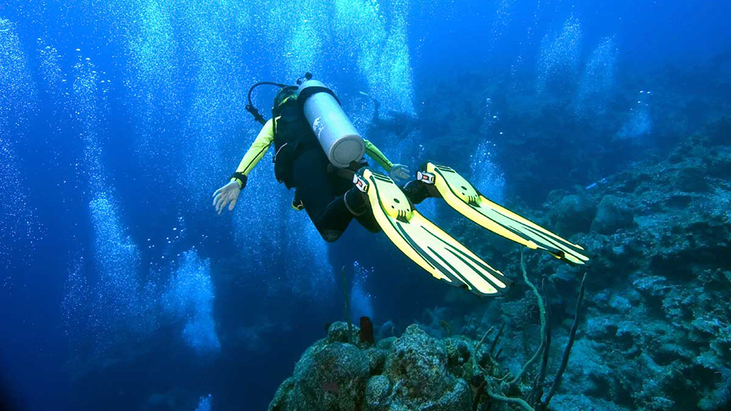 scuba diving in the deep blue Skiathos' waters