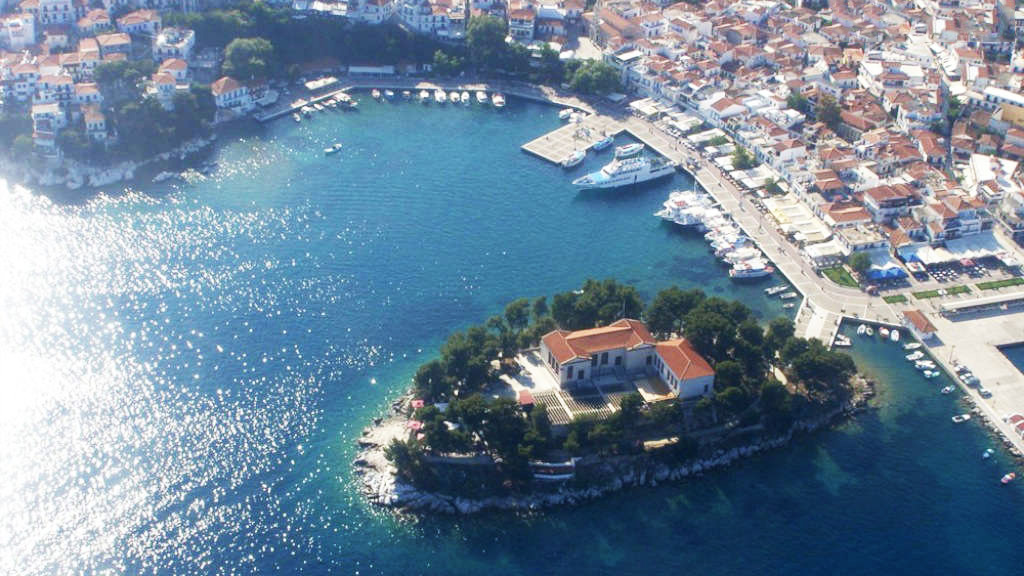 photo taken from above of Bourtzi in Skiathos