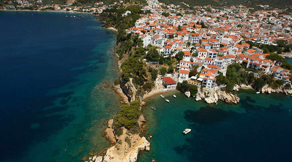 photo of Skiathos town from above